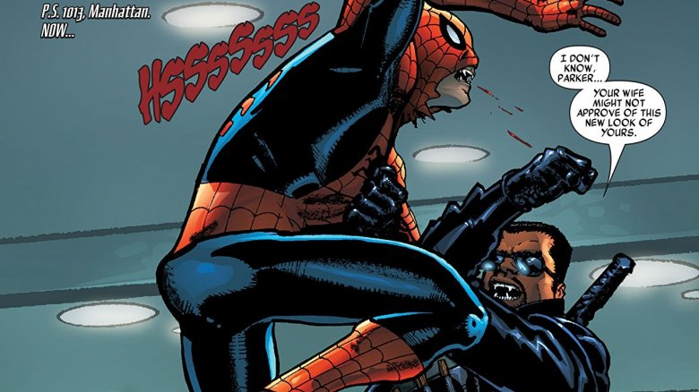 Blade stops Vampire Spidey from attacking