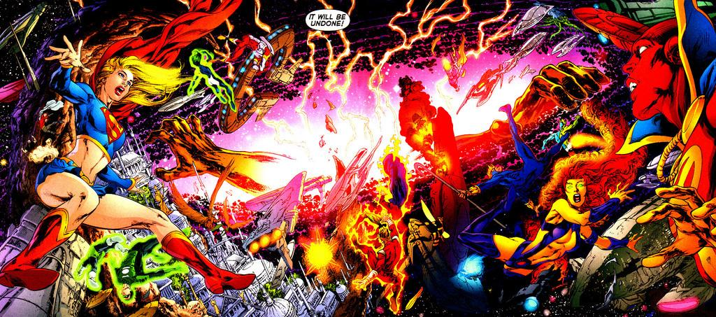 DC Heroes fight in space during Infinite Crisis