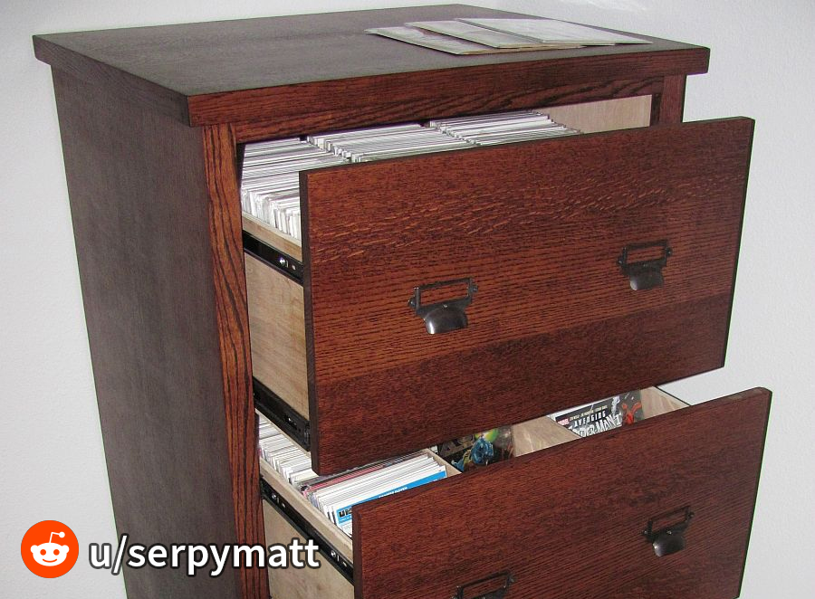 Comic book filing cabinet storage