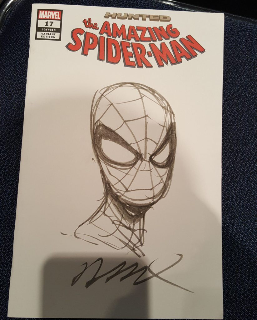 Humberto Ramos sketched a Spider-Man on my Amazing Spider-Man #17 comic