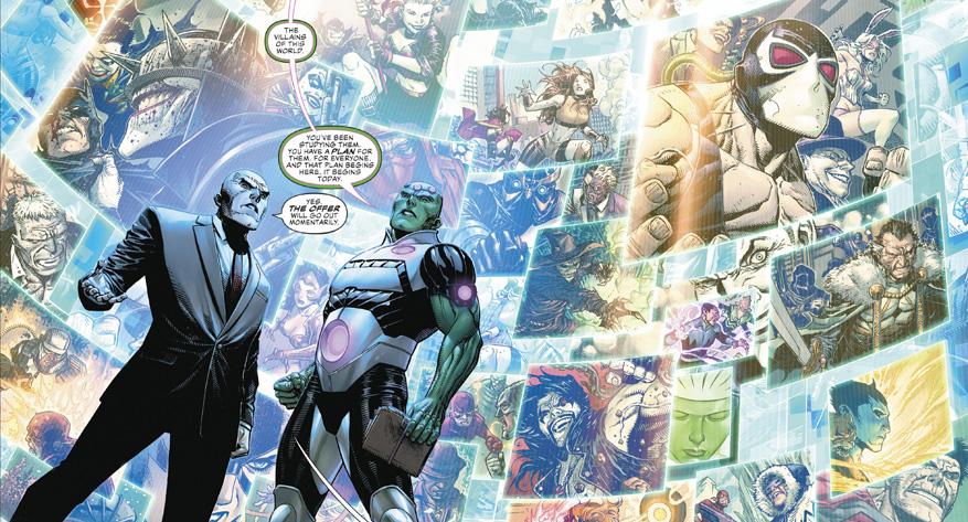 Lex Luthor explains his year of the villain plans to Braniac