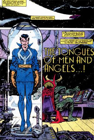 L'étrange scène d'ouverture, avec dans l'arrière-plan un monstre vert portant la cape de Docteur Strange.