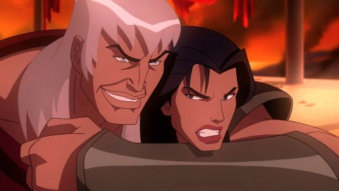"""A prior relationship is revealed in an opening battle between Ares (voiced by Alfred Molina) and Hippolyta (voiced by Virginia Madsen) in """"Wonder Wonder,"""" the all-new DC Universe animated original movie set for distribution March 3, 2009 by Warner Home Video."""