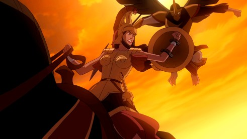 """Queen Hippolyta preares to fend off one of Ares' villainous minion in """"Wonder Wonder,"""" the all-new DC Universe animated original movie set for distribution March 3, 2009 by Warner Home Video."""