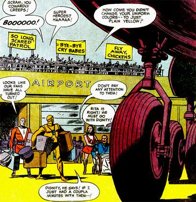 """La Doom Patrol et la réaction d'une foule ingrate, bien plus proche des réactions à la Marvel que les passants """"civiques"""" vus d'habitude chez DC."""