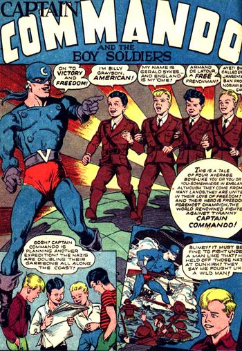 Captain Commando et la présentation en règle des quatre Boy Soldiers