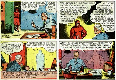 Histoire d'être complétiste, voici la scène où Invisible Hood obtient des super-pouvoirs dans l'épisode suivant et cesse d'être un simple type déguisé en moine...