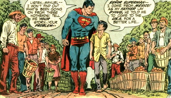 Superman et Manuel, dans une scénographie qui évoque la composition de certains tableaux bibliques...
