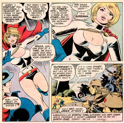 La première apparition de Power Girl, dessinée par Ric Estrada, encrée par Wally Wood.