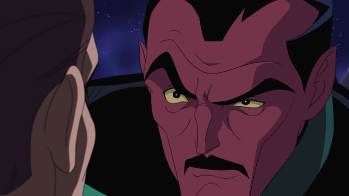 """SinGL8.jpg Sinestro and Hal Jordan assess an oncoming battle in """"Green Lantern: First Flight,"""" the all-new DC Universe animated original movie set for distribution July 28, 2009 by Warner Home Video."""