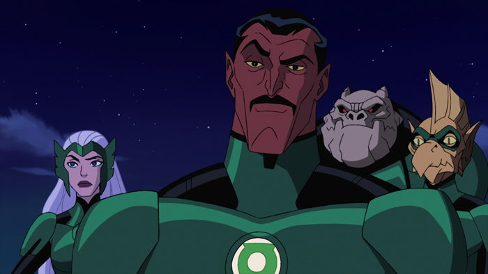 """Sinestro (center) and fellow Lanterns (from left) Boodikka, Kilowog and Tomar-Re take their first look at new recruit Hal Jordan in """"Green Lantern: First Flight,"""" the all-new DC Universe animated original movie set for distribution July 28, 2009 by Warner Home Video."""