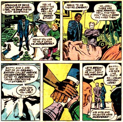 Les agents de Justice Inc. matérialisent leur pacte dans une scénographie déjà vue ailleurs dans l'oeuvre de Jack Kirby