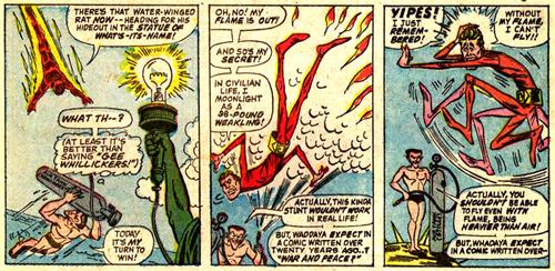 Human Scorch, éteint, est aussi maigre qu'Elongated Man... Tandis que No-More ne manque pas une occasion de critiquer les comics du Golden Age...