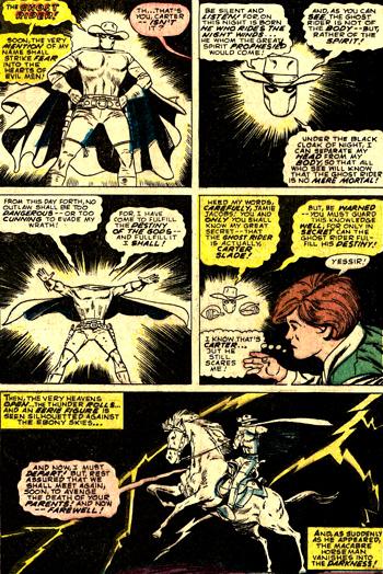 Carter Slade fait la démonstration de ses faux pouvoirs, tout en jouant à imiter une voix spectrale...