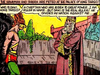 Hawkman en compagnie du vrai roi de Dravidia, qui (bizarrement pour un habitant de Mongolie) ressemble à Charlemagne...