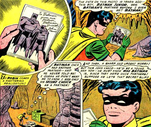 Quand Robin découvre la photo de Batman Junior, c'est un drame, une véritacle crise de jalousie... ou de partenaire délaissé ?