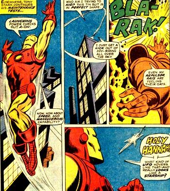 """Iron Man dans le ciel, au moment où il remarque une étrange """"étoile""""..."""