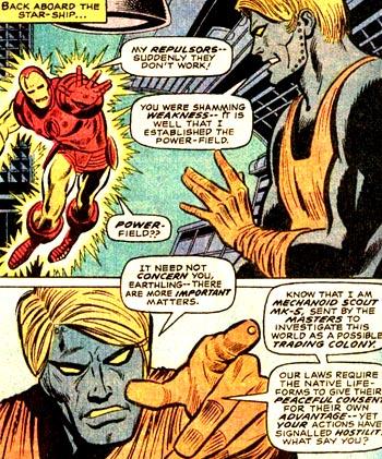 Petite discussion entre Iron Man et le Mechanoid...