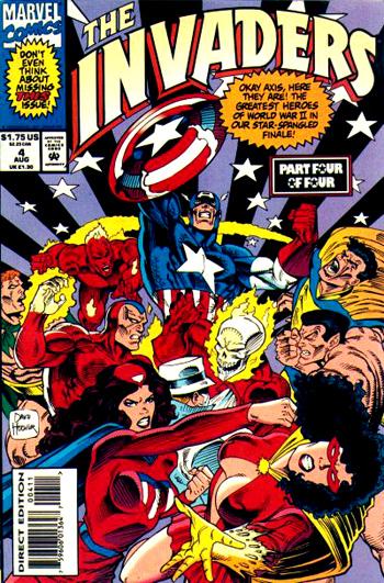 Invaders vol.2 #4: Spider-Queen recoloriée en rouge et or est en bas à droite...