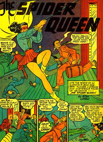 Spider-Queen entre en scène, accrochée... à un curieux fil...