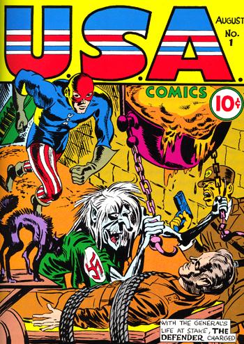 U.S.A. Comics #1. Sur la couverture les responsables de Timely/Marvel tableaient plut�t sur le succ�s du Defender, une copie de Captain America...