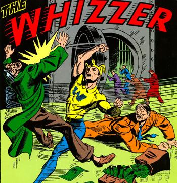 """Le Whizzer dans son troisi�me costume, apparence plus """"classique"""" dans laquelle on le connait mieux de nos jours..."""