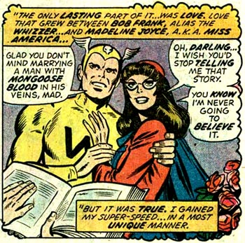 """Le mariage Whizzer/Miss America est de facto un des premiers mariages de super-h�ros dans l'univers Marvel. Mais leur �ge pose probl�me quand � la chronologie de leur prog�niture, qu'elle soit r�elle ou """"adopt�e""""..."""