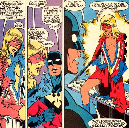 Selon qu'elle prenne sa vitamine, Ms. Victory passe de l'état de sexagénaire à celui de bimbo surpuissante...