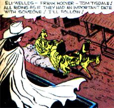 Avec un petit côté Batman, Ghost Rider surveille les suspects du haut du toit, la cape au vent..