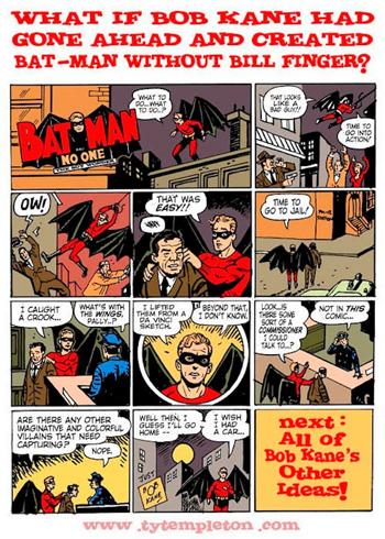 Le Bat-Man de Kane vu de manière humoristique par Ty Templeton (http://tytempletonart.wordpress.com/). On verra néanmoins que tout n'est pas blanc et noir...