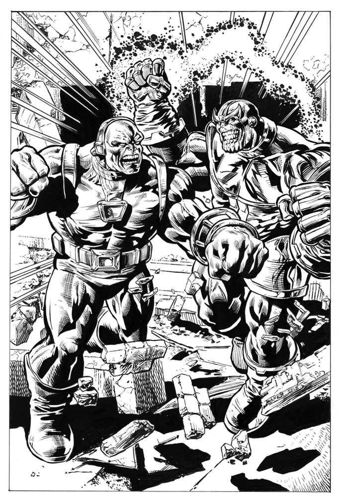 Darryl Banks Original Thanos vs. Mongul Art! Acclaimed artist Darryl Banks, co-creator of Green Lantern Kyle Rayner along with Ominous Press Editor-in-Chief and Lead Writer Ron Marz, tackles two vile villains created by Jim Starlin. The latest addition to the Jim Starlin Legacy Project is a stunning work of art featuring Starlin's signature creations Thanos and Mongul in a titanic tussle. Darryl made his Mongul mark by including the villain in some of his first Green Lantern issues, and drew Thanos in the landmark Green Lantern-Silver Surfer crossover. This inked artwork measures a full 11 inches by 17 inches, and obviously, is one of a kind. Shipping costs to be calculated when campaign ends.