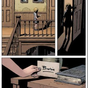 Black Hammer Issue 11 - Dialogue free art with Gail leaving a note for Barbalien