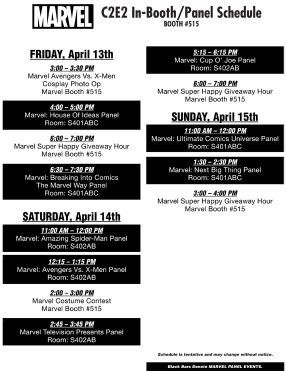 C2E2_2012_Schedule-1 Visit the Marvel Booth At C2E2 2012