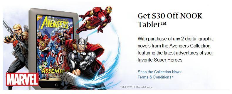 marvel_nook Get discount on Nook Tablet with Marvel graphic novel purchase