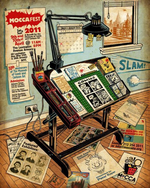 moccafest2011 MoCCA announces Peter Kuper 2011 MoCCA Festival poster and t-shirt