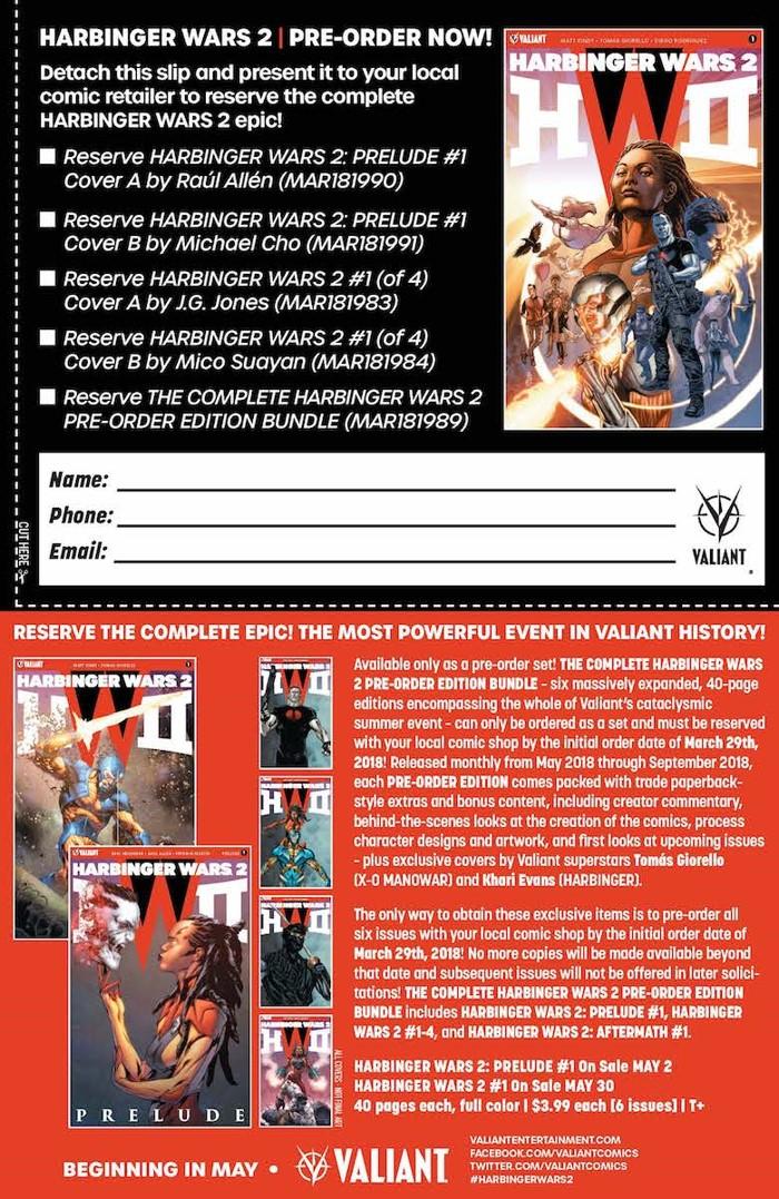 HW2_PRE-ORDER_COUPON Valiant's HARBINGER WARS 2 earns a Pre-Order Edition Bundle