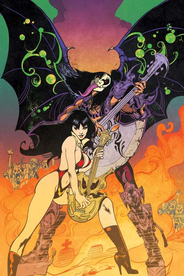 KissVampiCovHIncen30CastroVirg Rock 'n roll legends KISS meet horror comics icon VAMPIRELLA