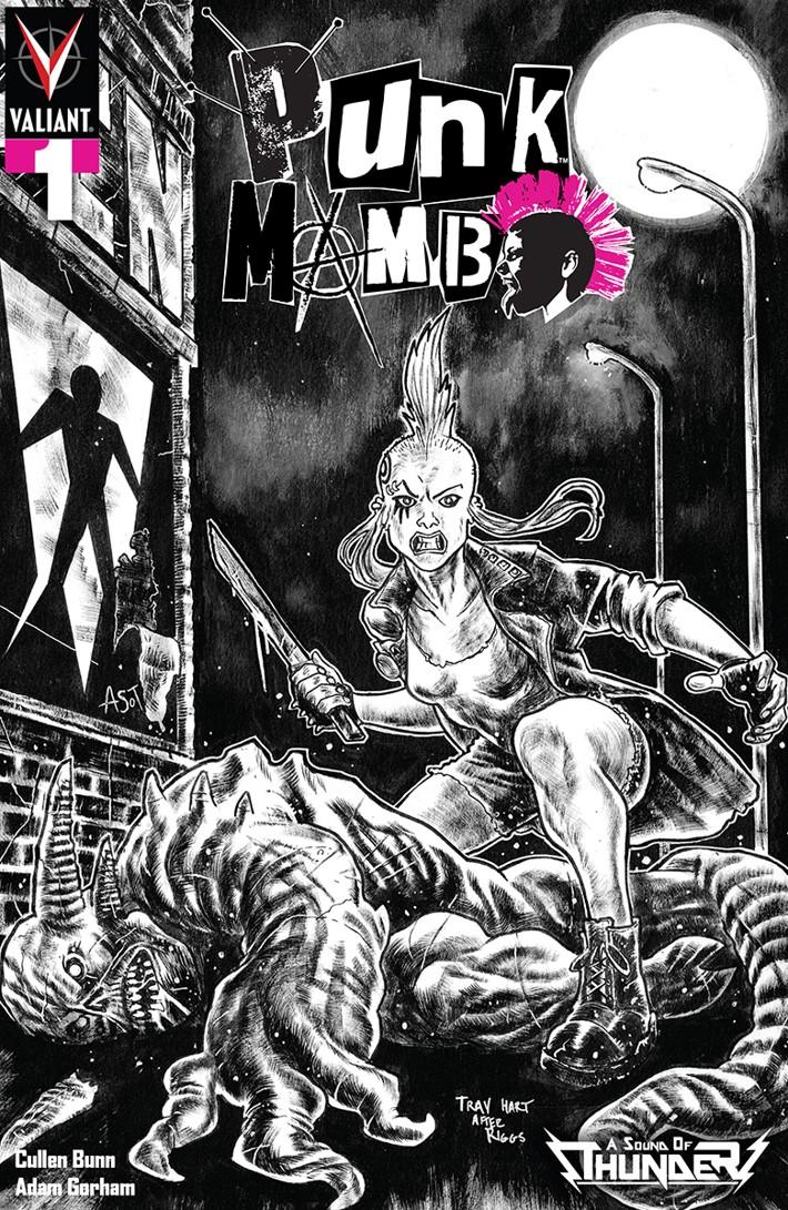 PUNK_001_VARIANT_ASOT_BW_HART PUNK MAMBO #1 to feature Iron Maiden homage comics by Trav Hart