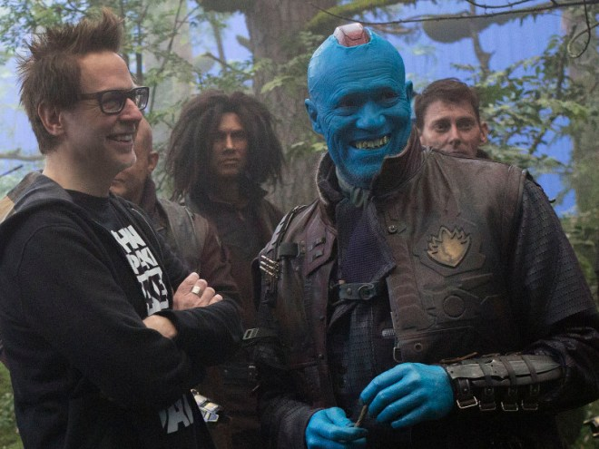 Guardians Of The Galaxy Vol. 2<br /> L to R: on set w/ Director James Gunn and Yondu (Michael Rooker)<br /> Ph: Chuck Zlotnick<br /> ©Marvel Studios 2017