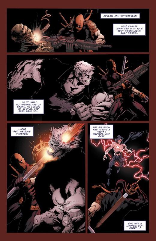 Deathstroke #36 art by Ed Benes, Fernando Pasarin, Richard Friend, Wade von Grawbadger, Jason Paz, and Jeromy Cox