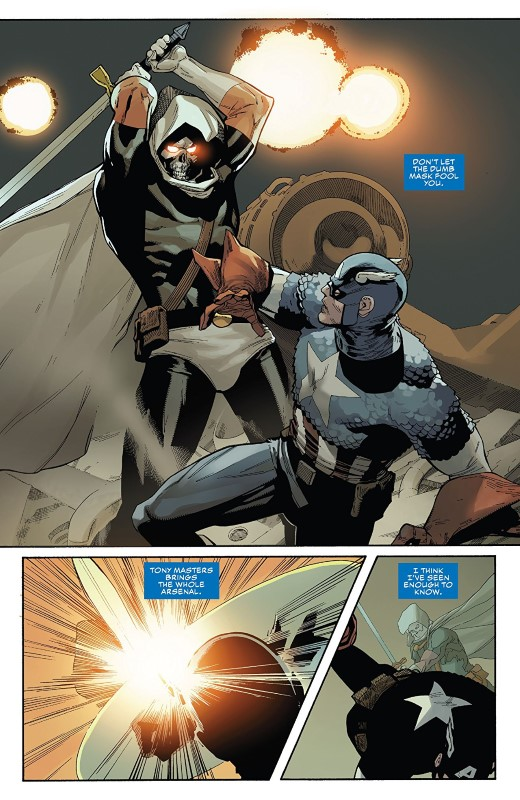 Captain America #5 art by Leinil Francis Yu, Gerry Alanguilan, Sunny Gho, and letterer VC's Joe Caramagna