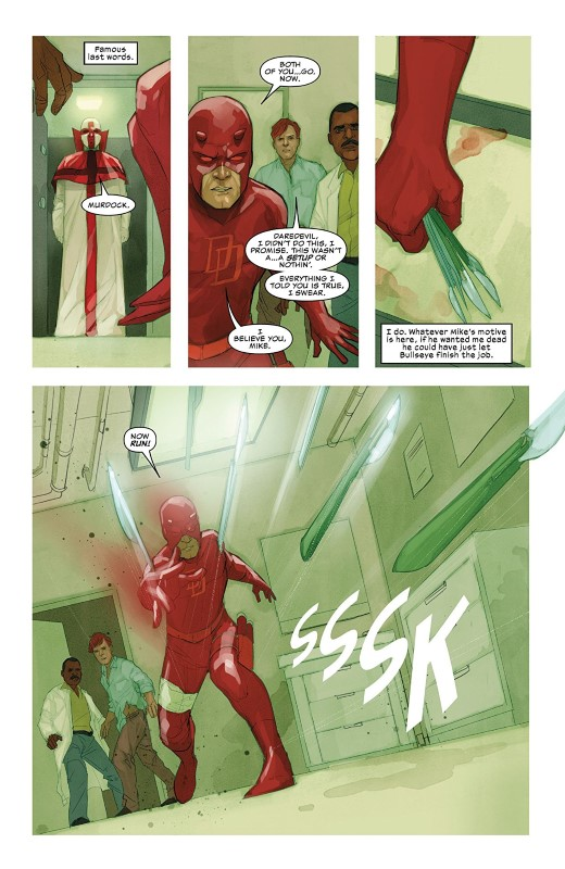 Daredevil #612 art by Phil Noto and letterer VC's Clayton Cowles