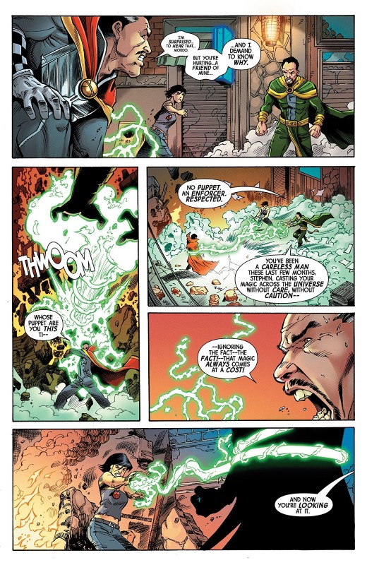 Doctor Strange #8 art by Andres Guinaldo, Javier Pina, Andy Owns, Carlos Lopez, and letterer VC's Cory Petit