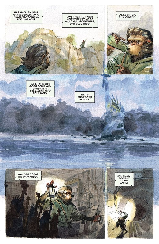 Planet of the Apes: The Simian Age #1 art by Jared Cullum and letterer Ed Dukeshire