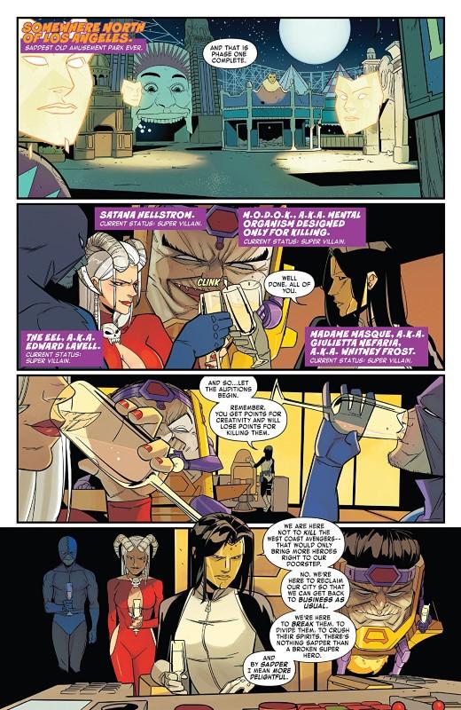 West Coast Avengers #6 art by Daniele di Nicuolo, Triona Farrell, and letterer VC's Joe Caramagna