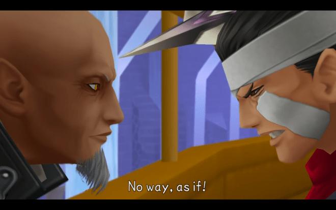 Braig briefly threatens Master Xehanort after Xehanort's plan disfigures him in Kingdom Hearts Birth by Sleep
