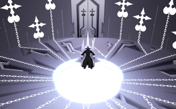 Xemnas speaks to Aqua's Keyblade Armor in the Chamber of Repose in Kingdom Hearts II: Final Mix