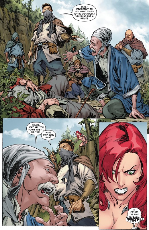 Red Sonja #25 art by Carlos Gomez, Mohan, and letterer Taylor Esposito