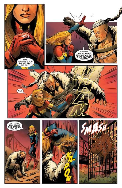 Captain Marvel #2 art by Carmen Carnero, Tamra Bonvillain, and letterer VC's Clayton Cowles