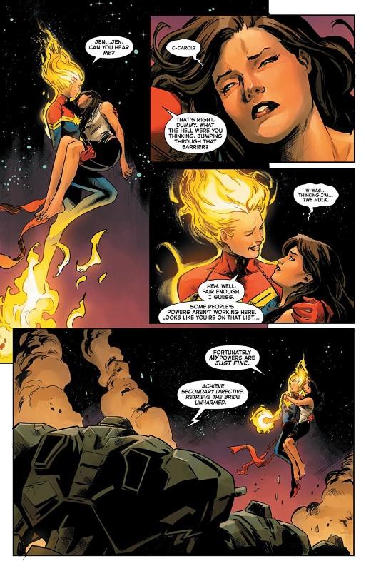 Captain Marvel #3 art by Carmen Carnero, Tamra Bonvillain, and letterer VC's Clayton Cowles